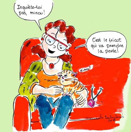 Au diable le tricot! je préfère le chat !