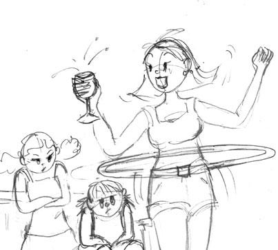 Maman s'amuse avec les enfants, à l'heure de l'apéro. Danièle Archambault